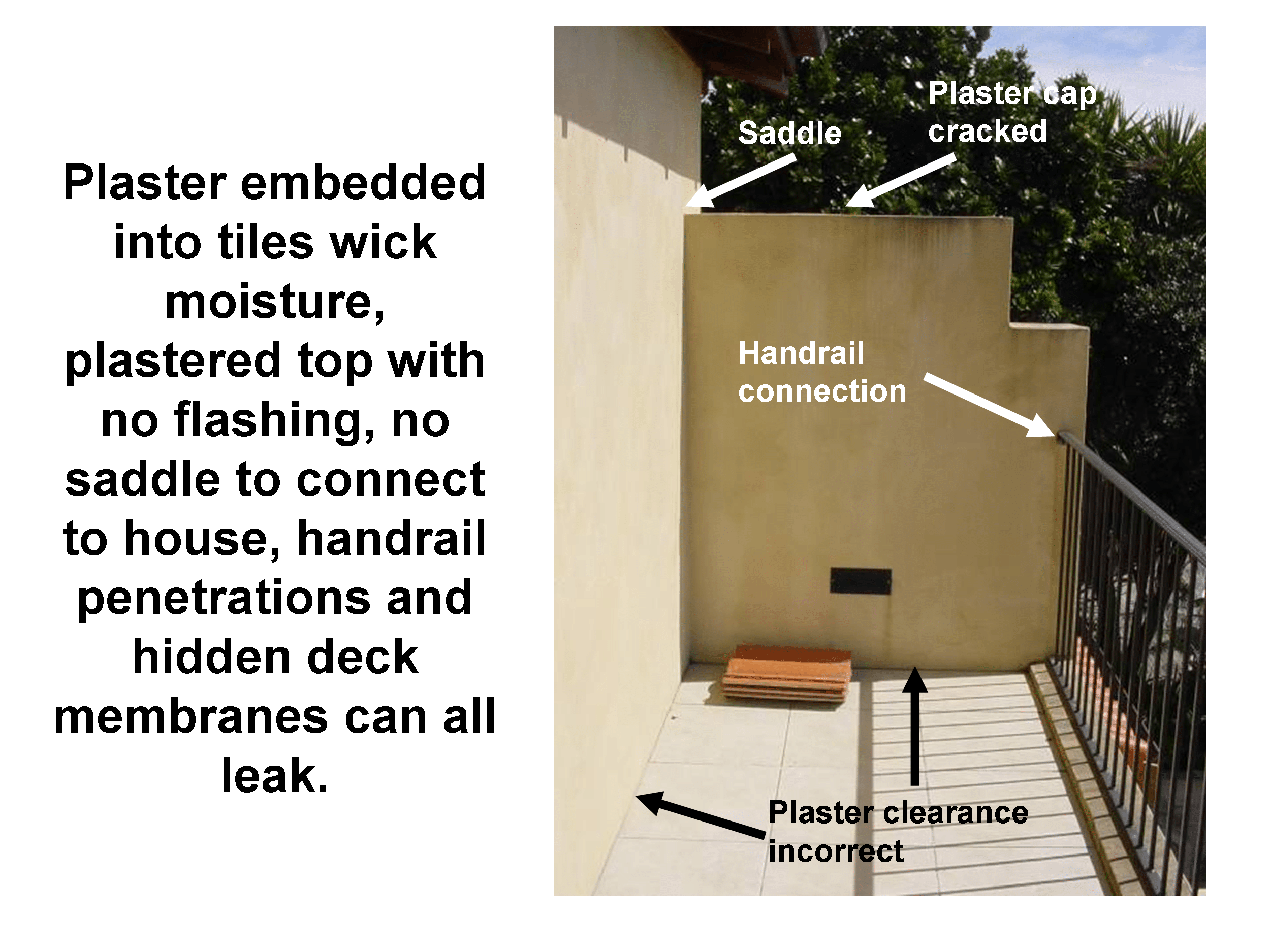 Plaster home leaky building defects - multiple defects associated with leaking decks