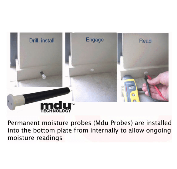 The stages of installing and reading an Mdu Moisture Probe